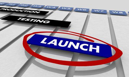 Launch Production Testing Development Phases Gantt Chart Timeline 3d Illustration Standard-Bild - 119161706