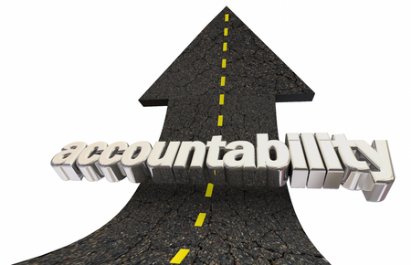 Accountability Responsibility Road Arrow Up Word 3d Illustration Фото со стока