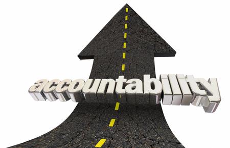 Accountability Responsibility Road Arrow Up Word 3d Illustration Stock Photo
