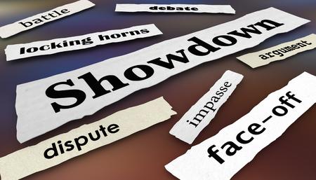 Showdown Face-Off Dispute Newspaper Headlines 3d Illustration 写真素材