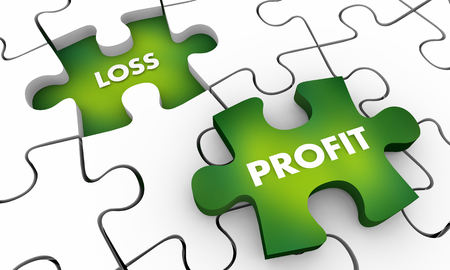 Profit Vs Loss Make Lose Money Puzzle Pieces 3d Illustration Reklamní fotografie - 119161713