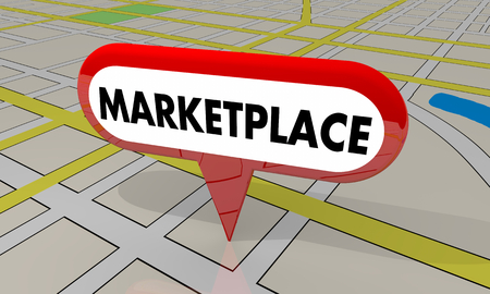 Marketplace Stores Shopping Center Map Pin Location 3d Illustration Banco de Imagens
