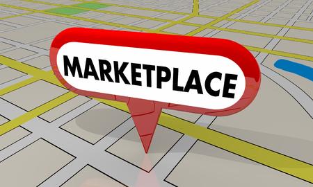 Tiendas de mercado Centro comercial Mapa Pin Ubicación Ilustración 3d