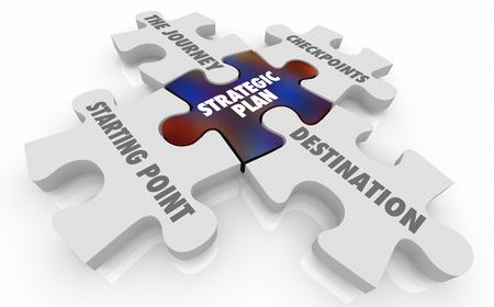Strategic Plan Journey Checkpoints Destination Puzzle Pieces 3d Illustration