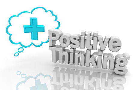 Positive Thinking Plus Sign Thought Cloud 3d Illustration Imagens