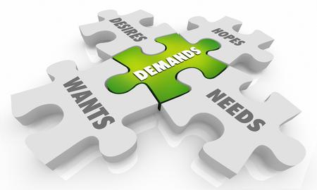 Demands Wants Hopes Desires Puzzle Pieces 3d Illustration