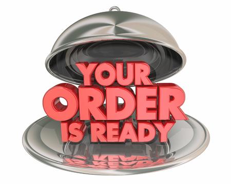 Your Order is Ready Dinner Platter Plate Words 3d Illustration