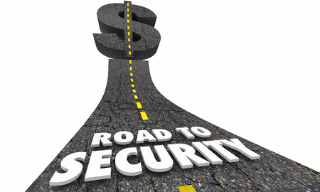 Road to Security Wealth Protection Road Money Dollar Sign 3d Illustration Stock Photo