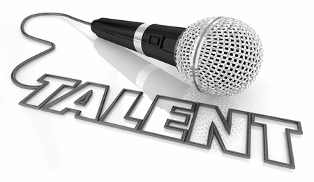 Talent Skill Ability Microphone Word 3d Illustration