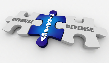 Offense Defense Winning Strategy Puzzle 3d Illustration
