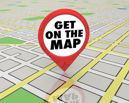 Erhalten Sie auf der Karte bemerkt Aufmerksamkeit Pin 3D-Illustration