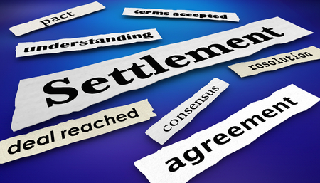 Acuerdo de conciliación Consenso Titulares de periódicos Ilustración 3d