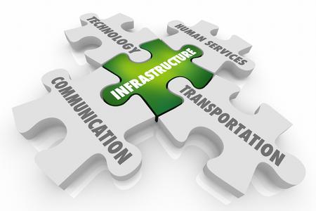 Infrastructure Communication Transportation Puzzle Pieces 3d Illustration