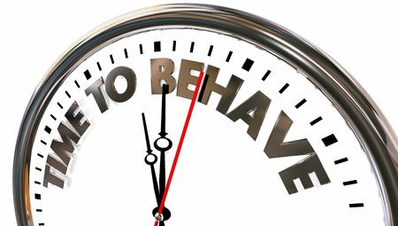 Time to Behave Good Behavior Clock Words 3d Illustration Stok Fotoğraf - 119477152