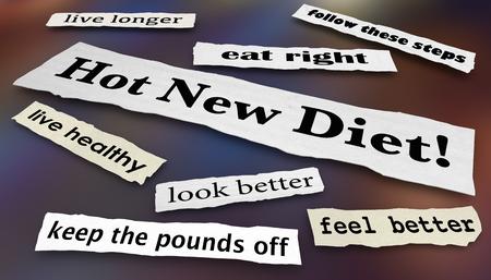 Hot New Diet Lose Weight Headlines 3d Illustration 写真素材