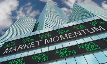 Market Momentum Stock Trends Wall Street Skyline 3d Illustration 스톡 콘텐츠