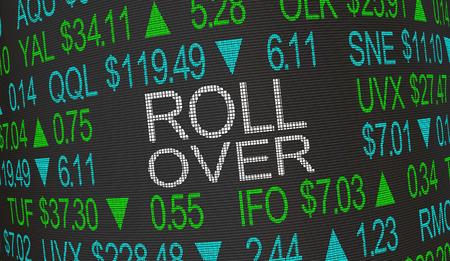 Roll Over Re-Invest Stock Market Money 3d Illustration