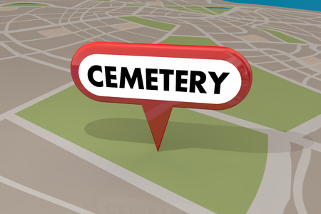 Cemetery Graveyard Map Pin 3d Illustration