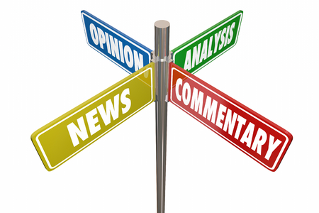 News Analysis Opinion Commentary Road Signs 3d Illustration 写真素材