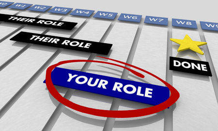 Your Role Project Management Gantt Chart 3d Illustration Stockfoto - 119477196