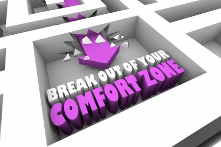 Break Out of Your Comfort Zone Maze Arrow 3d Illustration