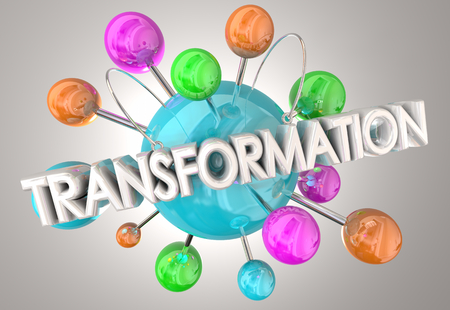 Transformation Change Evolve Spheres 3d Illustration Stock Photo
