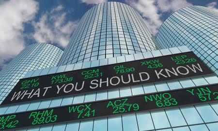 Lo que debe saber Información del mercado de valores Ticker Ilustración 3d