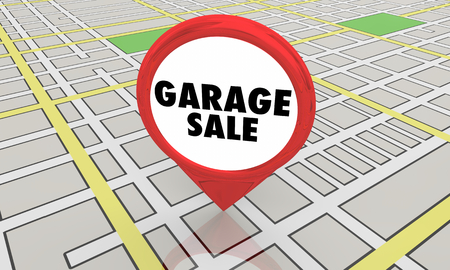 Garage Sale Rummage Subdivision Event Map Pin Location 3d Illustration 写真素材