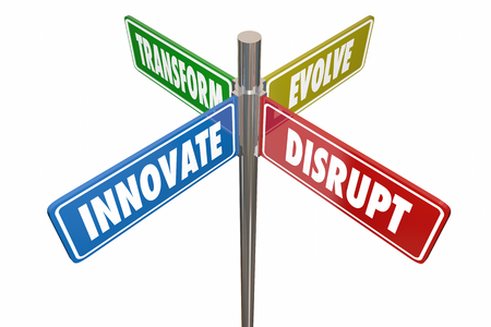 Innovate Disrupt Transform Evolve Road Signs 3d Illustration Imagens