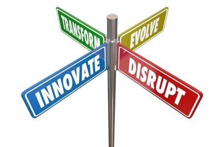 Innover Disrupt Transformer Evolve Road Signs Illustration 3d Banque d'images
