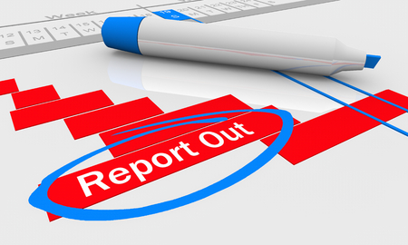 Report Out Share Outcome Results Gantt Chart 3d Illustration 写真素材