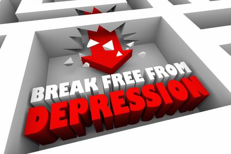 Break Free From Depression Sadness 3d Illustration