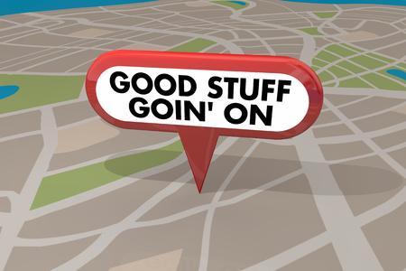 Good Stuff Going On Map Pin 3d Illustration