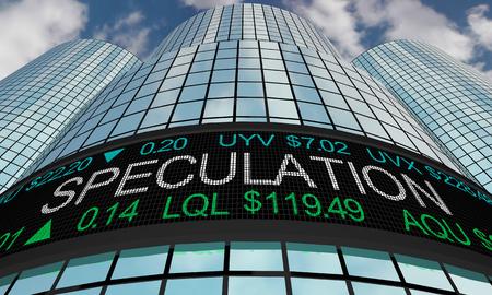 Speculation Investors Speculation Stock Market Ticker 3d Illustration Banco de Imagens