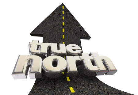 True North Guiding Principles Mission Goal Arrow Road 3d Illustration