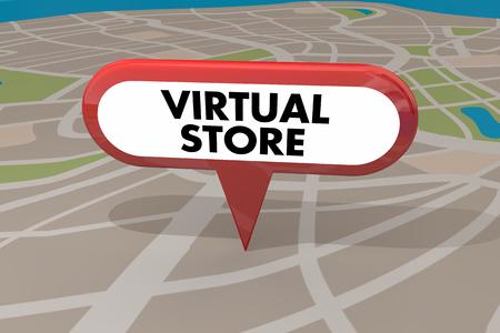 Virtual Store Ecommerce Map Pin 3d Illustration 写真素材