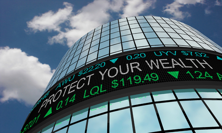 Protect Your Wealth Save Money Stock Market Ticker 3d Illustration