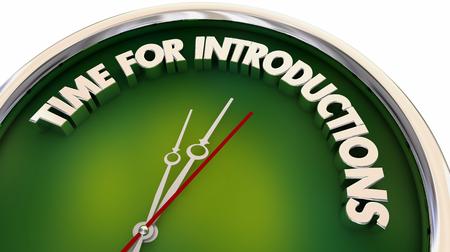 Hora de las presentaciones Reunión Saludo Reloj Ilustración 3d