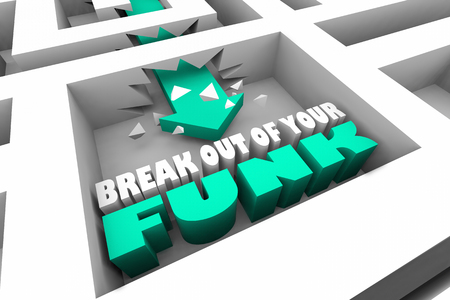 Break Out of Your Funk Maze Arrow 3d Illustration