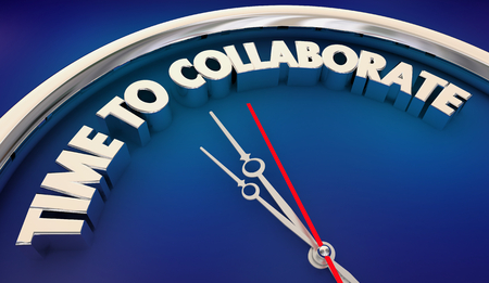 Time to Collaborate Clock Words 3d Illustration Stock Photo