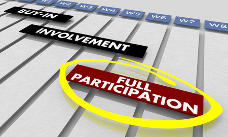 Full Participation Engagement Actions Gantt Chart 3d Illustration