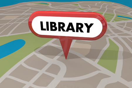 Library Public Building Map Pin 3d Illustration