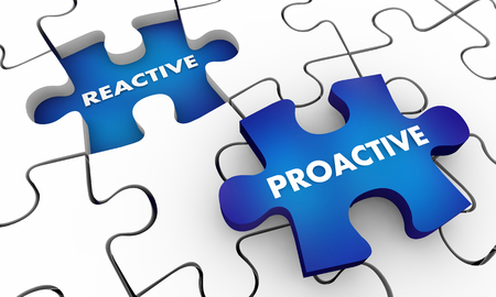 Proactive Vs Reactive Puzzle Pieces Words 3d Illustration
