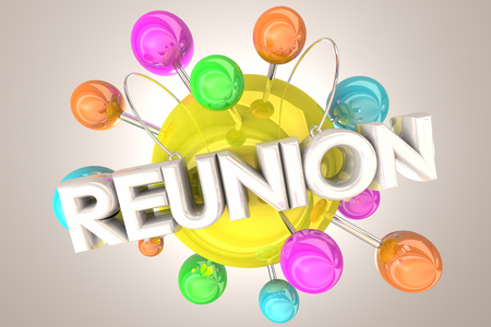 Reunion Getting Back Together Connected Spheres 3d Illustration Stok Fotoğraf