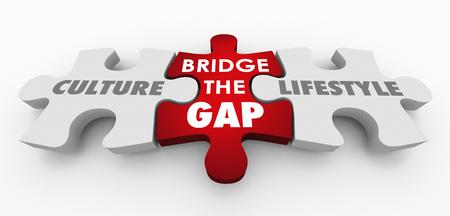 Culture Lifestyle Bridge the Gap Puzzle Pieces 3d Illustration