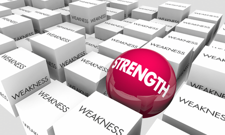 Strength Vs Weakness Be Strong Confident Words 3d Illustration