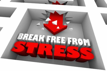 Break Free From Stress Maze Arrow 3d Illustration