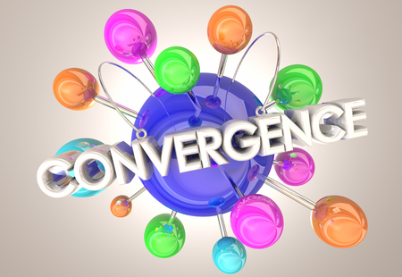 Convergence Coming Together Connected Spheres 3d Illustration