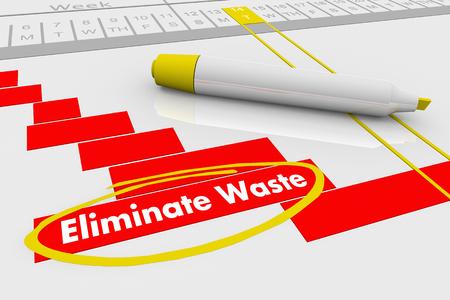 Eliminate Waste Reduce Gantt Chart Plan 3d Illustration Stock Photo