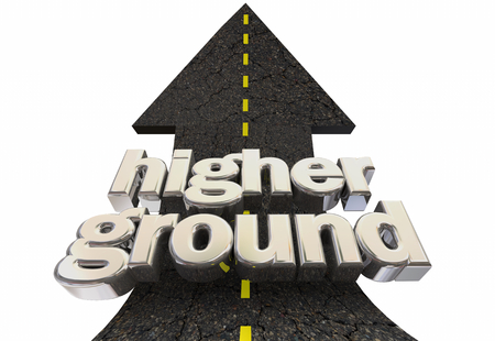 Higher Ground Safety Moral Superiority Road Arrow 3d Illustration Фото со стока